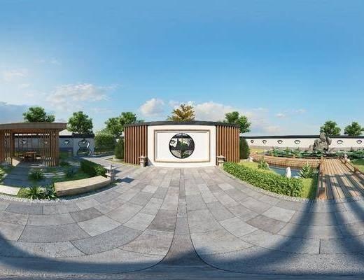 新中式, 庭院, 景观