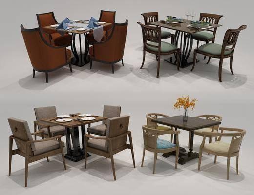 桌椅组合, 餐桌椅组合, 现代餐桌椅组合, 餐桌, 单椅, 椅子, 摆件, 装饰品, 花瓶, 花卉, 现代