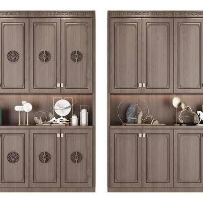 新中式实木鞋柜组合, 新中式, 鞋柜, 装饰品, 摆件