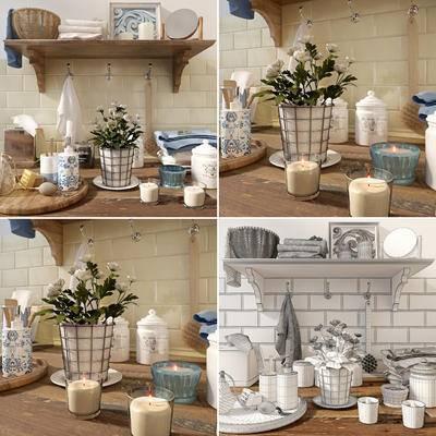沐浴, 日用, 卫浴架, 花卉, 现代沐浴日用卫浴架花卉烛台