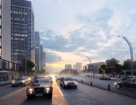 现代, 街景, 马路, 汽车, 人, 办公大楼