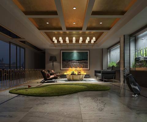 娱乐室, 多人沙发, 茶几, 单人沙发, 吊灯, 落地灯, 摆件, 装饰品, 陈设品, 现代