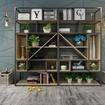 装饰架, 置物架, 现代, 工业风, 吊灯, 陈设品, 摆件, 盆栽, 篮子