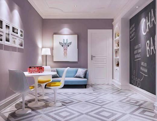 娱乐室, 北欧, 休闲桌椅, 沙发, 装饰柜, 装饰画, 门, 地毯