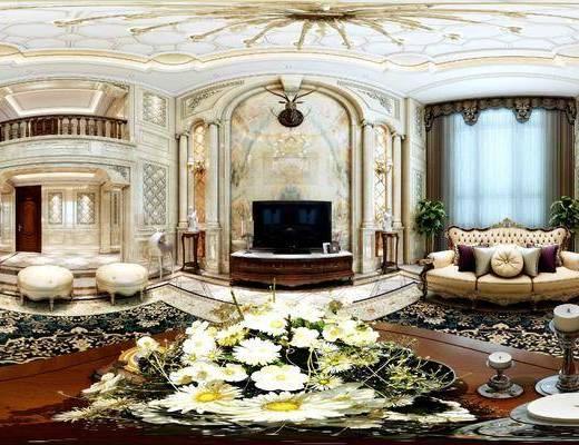 欧式, 全景, 花瓶, 沙发组合, 电视柜, 摆件