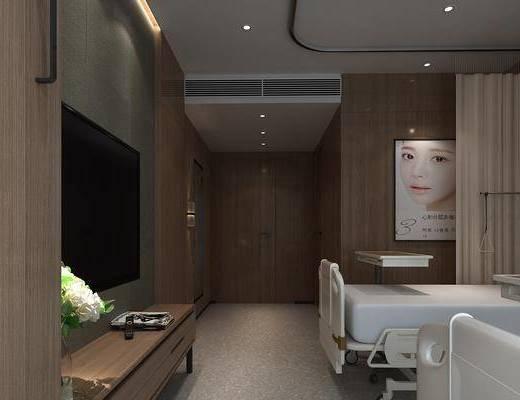 医院病房, 单人床, 现代