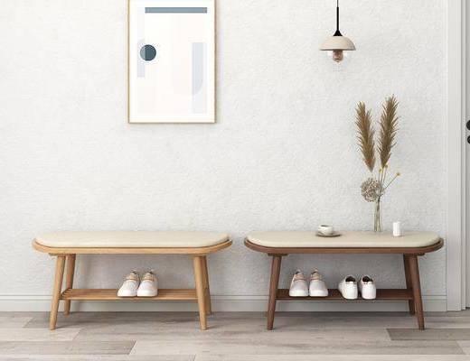 凳子, 鞋凳, 北欧鞋凳3D模型, 实木