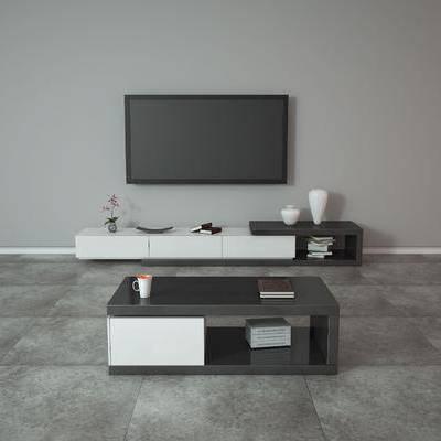电视柜, 现代, 陈设品, 摆件