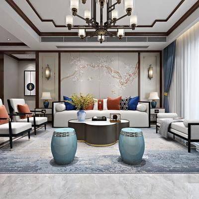 新中式客厅, 客厅, 客餐厅, 沙发组合, 沙发茶几组合, 新中式, 中式