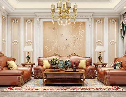 沙发组合, 皮艺沙发, 沙发茶几组合, 吊灯, 圆几, 沙发, 法式