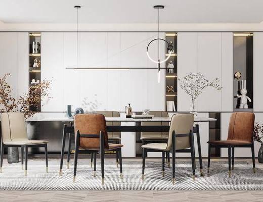 现代, 餐厅, 家装, 餐桌椅