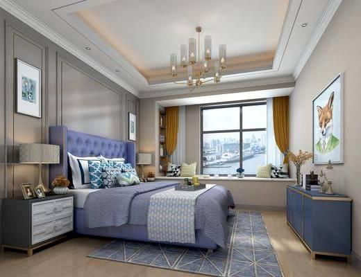 后现代卧室, 卧室, 现代吊灯, 床, 床头柜, 装饰柜, 装饰画