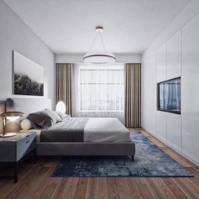 卧室, 北欧卧室, 床, 装饰画, 地毯, 电视墙, 背景墙, 床头柜