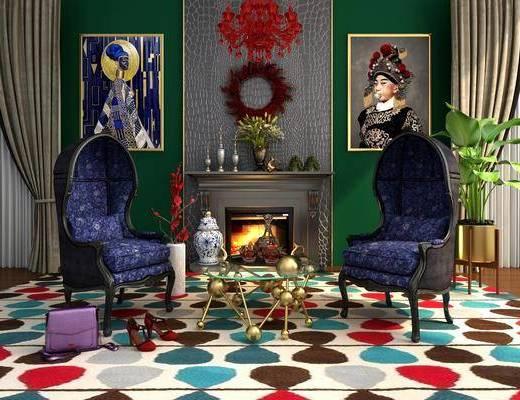 时尚壁炉, 电视墙, 单人沙发, 茶几, 盆栽, 绿植植物, 人物画, 装饰画, 挂画, 墙饰, 吊灯, 摆件, 装饰品, 陈设品, 欧式