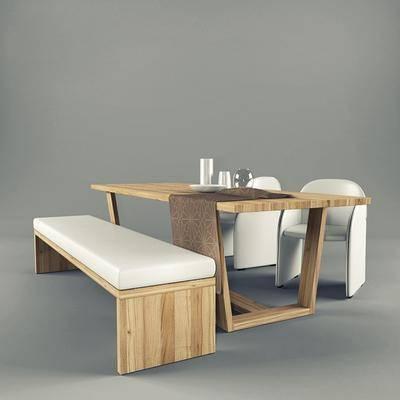 餐桌, 餐椅, 摆件, 现代