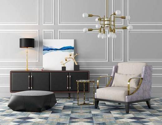 边柜, 装饰柜, 单人沙发, 台灯, 吊灯, 边几, 现代