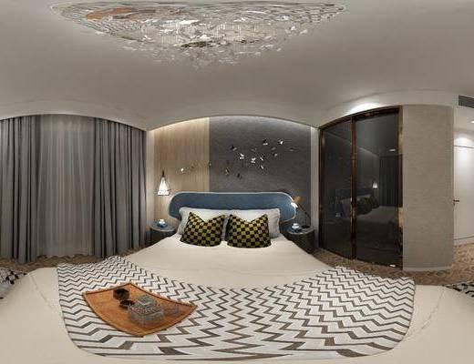后現代臥室, 臥室, 雙人床
