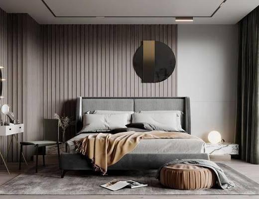 现代, 卧室, 双人床, 梳妆台, 地毯