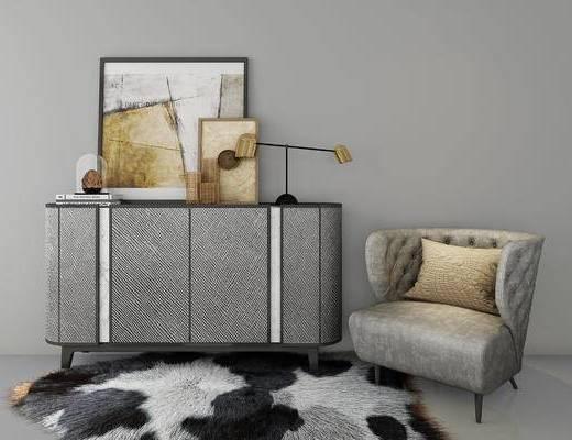 装饰柜, 装饰画, 休闲椅, 摆件, 现代