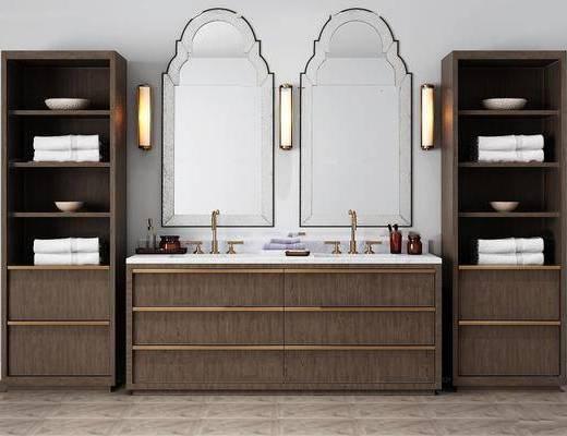 卫浴柜架, 壁灯, 洗手盆, 卫浴组合, 置物架