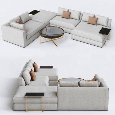多人沙发, 转角沙法, 茶几, 布艺沙发, 现代