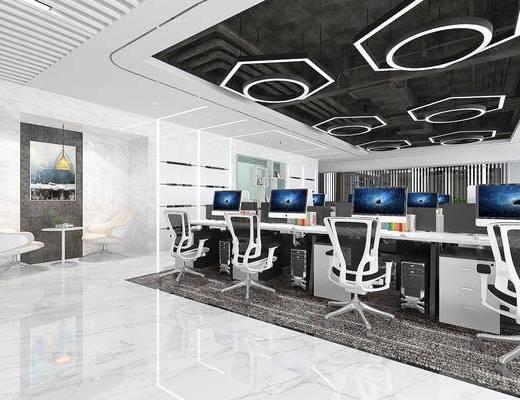 办公室, 办公桌, 办公椅, 单人椅, 电脑桌, 茶几, 电脑, 现代