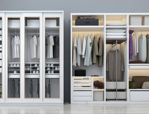 衣柜组合, 服饰, 装饰柜, 白色衣柜, 现代