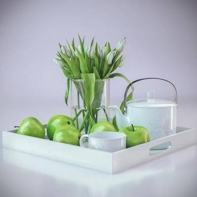 端盘, 苹果, 水果, 盘栽, 水壶, 水杯, 现代