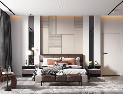 双人床, 单椅, 衣柜, 吊灯, 床头柜