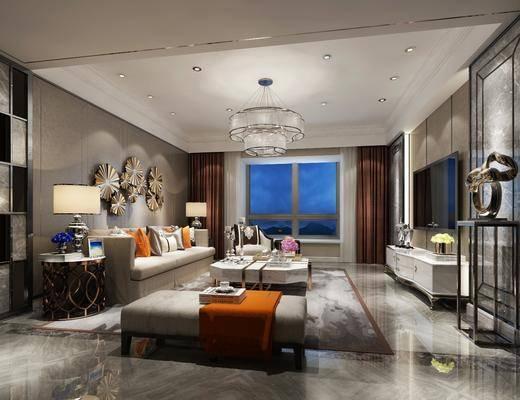 现代客厅, 现代, 客厅, 布艺沙发, 现代吊灯, 电视柜