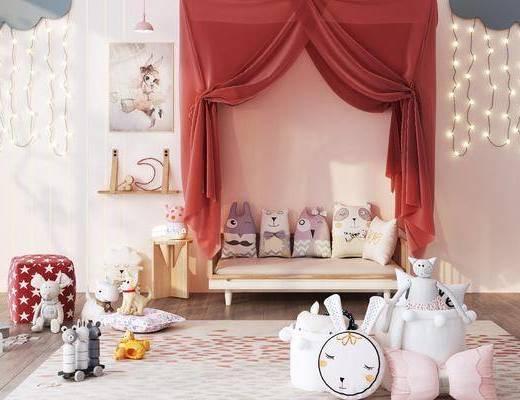 单人床, 玩具, 吊灯