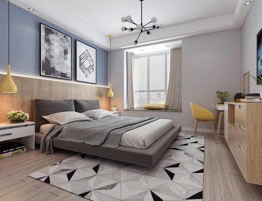 双人床, 床头柜, 摆件, 绿植, 书桌椅, 电视柜, 挂画, 吊灯