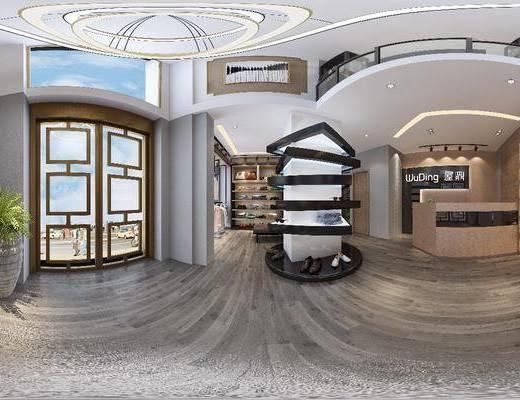 服裝店, 工裝全景, 前臺, 服飾, 展示柜, 綠植植物, 現代