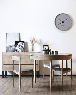 现代, 北欧, 桌椅组合, 边柜组合