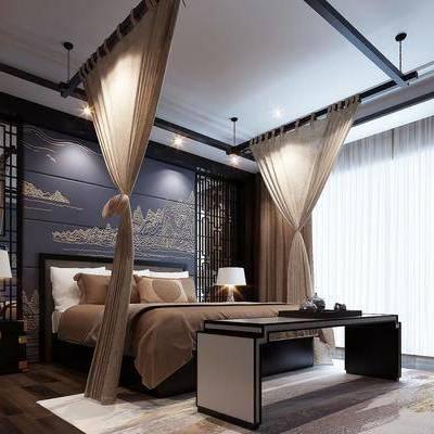 床具, 双人床, 床头柜, 床尾蹋, 台灯, 新中式