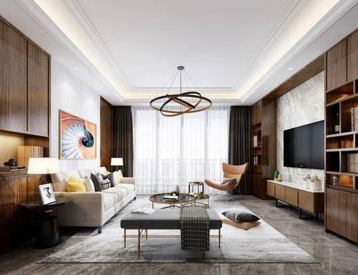 客廳, 沙發組合, 沙發茶幾組合, 臺燈組合, 邊柜組合, 裝飾柜, 擺件組合, 現代