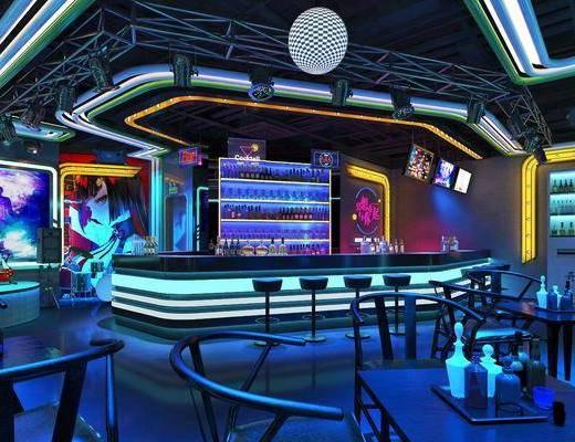 工业风, 酒吧, 吧台, 吧椅, 射灯, 酒, 餐桌椅