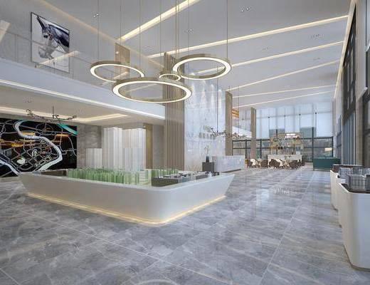 售楼处, 吊灯, 桌椅组合, 前台接待, 沙盘, 现代