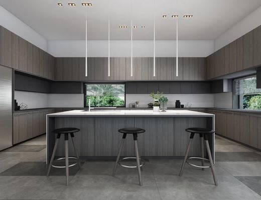 橱柜, 厨具, 现代橱柜, 桌椅组合, 单椅, 现代