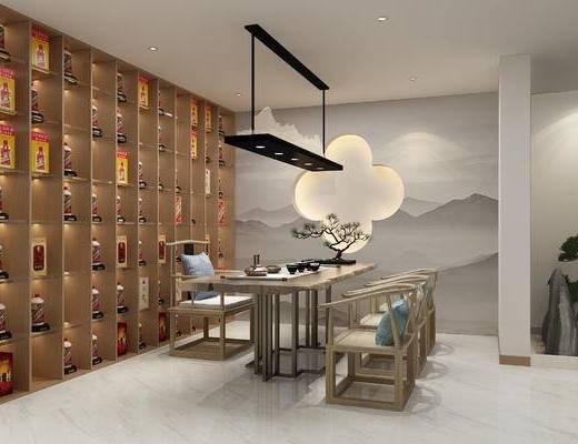新中式, 酒窖, 展厅, 3D模型, 其他