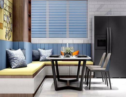 餐桌, 椅子, 榻榻米, 卡座抱枕, 单椅, 摆件, 餐具, 冰箱, 现代