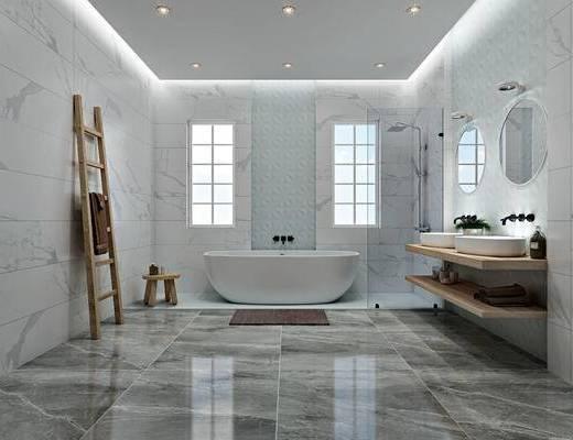 卫生间, 洁具, 北欧, 主卫, 浴缸, 置物架, 毛巾架, 洗手台, 镜