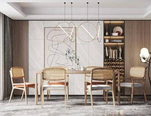 北欧餐桌, 餐椅, 挂画, 吊灯