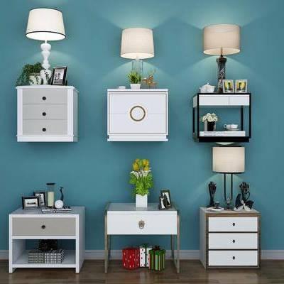 床头柜, 摆件, 台灯, 装饰品, 植物, 盆栽, 现代