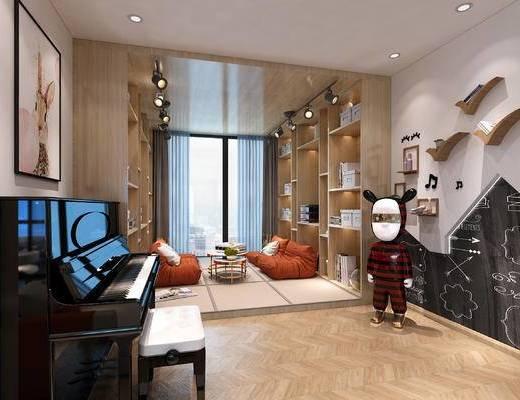 钢琴, 娱乐室, 装饰画, 墙饰, 单椅