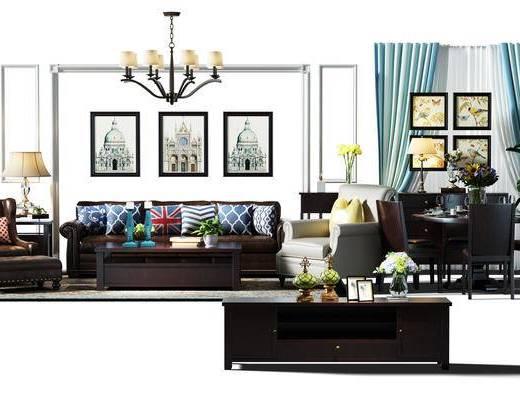 沙发组, 餐桌椅组合, 桌椅, 餐桌, 桌椅组合, 窗帘, 电视柜, 吊灯, 装饰画, 挂画