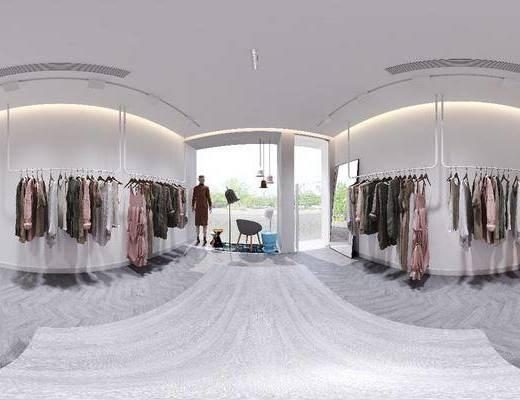 女装店, 服装摆件, 休闲沙发, 收银台