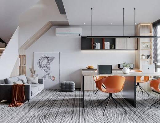 现代办公区, 办公桌椅, 楼梯, 沙发