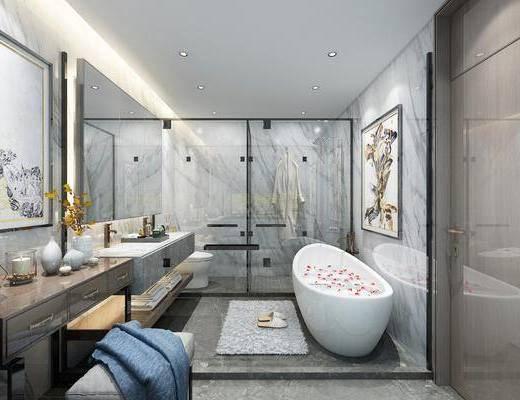 卫浴, 浴缸, 洗手盆, 卫浴组合