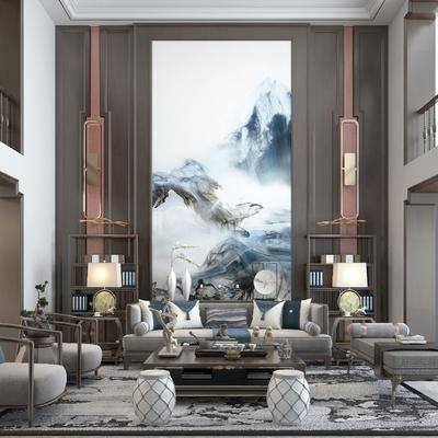 客厅, 餐厅, 别墅, 新中式客餐厅, 沙发组合, 茶几, 摆件组合